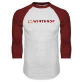 White/Cardinal Raglan Baseball T Shirt-Primary Mark Flat