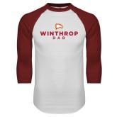 White/Cardinal Raglan Baseball T Shirt-Dad