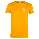 Ladies Gold T Shirt-Winthrop Eagles w/ Eagle Head