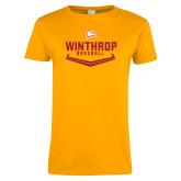Ladies Gold T Shirt-Baseball Plate