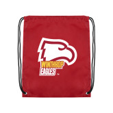 Cardinal Drawstring Backpack-Winthrop Eagles w/ Eagle Head