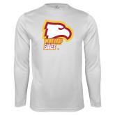 Performance White Longsleeve Shirt-Winthrop Eagles w/ Eagle Head
