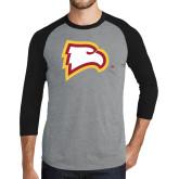 Grey/Black Tri Blend Baseball Raglan-Eagle Head