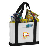 Contender White/Black Canvas Tote-Winthrop Eagles w/ Eagle Head