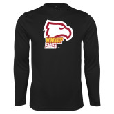 Performance Black Longsleeve Shirt-Winthrop Eagles w/ Eagle Head