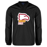 V Neck Black Raglan Windshirt-Winthrop Eagles w/ Eagle Head