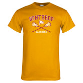 Gold T Shirt-Lacrosse Crossed Sticks