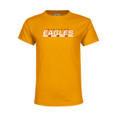 Youth Gold T Shirt-Winthrop Eagles Stacked w/ Bar