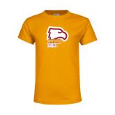 Youth Gold T Shirt-Winthrop Eagles w/ Eagle Head