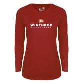 Ladies Syntrel Performance Cardinal Longsleeve Shirt-Basketball