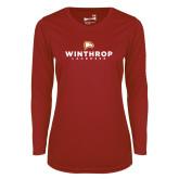 Ladies Syntrel Performance Cardinal Longsleeve Shirt-Lacrosse