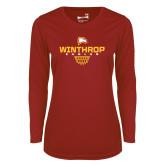 Ladies Syntrel Performance Cardinal Longsleeve Shirt-Sharp Net Basketball