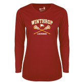 Ladies Syntrel Performance Cardinal Longsleeve Shirt-Lacrosse Crossed Sticks