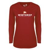 Ladies Syntrel Performance Cardinal Longsleeve Shirt-Winthrop Athletics