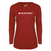 Ladies Syntrel Performance Cardinal Longsleeve Shirt-Winthrop Athletics Flat