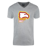 Next Level V Neck Heather Grey T Shirt-Winthrop Eagles w/ Eagle Head