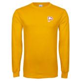 Gold Long Sleeve T Shirt-Winthrop Eagles w/ Eagle Head
