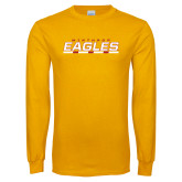 Gold Long Sleeve T Shirt-Winthrop Eagles Stacked w/ Bar