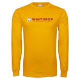 Gold Long Sleeve T Shirt-Winthrop Athletics Flat