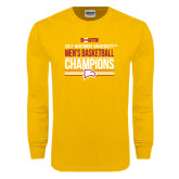 Gold Long Sleeve T Shirt-2017 Mens Basketball Champions Stacked
