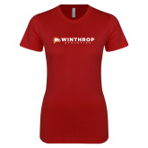 Next Level Ladies SoftStyle Junior Fitted Cardinal Tee-Winthrop Athletics Flat