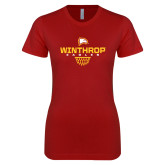 Next Level Ladies SoftStyle Junior Fitted Cardinal Tee-Sharp Net Basketball
