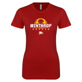 Next Level Ladies SoftStyle Junior Fitted Cardinal Tee-Soccer Half Ball