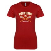 Next Level Ladies SoftStyle Junior Fitted Cardinal Tee-Lacrosse Crossed Sticks