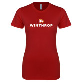 Next Level Ladies SoftStyle Junior Fitted Cardinal Tee-Primary Mark