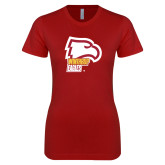 Next Level Ladies SoftStyle Junior Fitted Cardinal Tee-Winthrop Eagles w/ Eagle Head