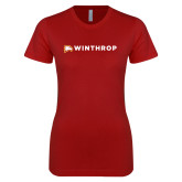 Next Level Ladies SoftStyle Junior Fitted Cardinal Tee-Primary Mark Flat