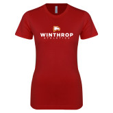 Next Level Ladies SoftStyle Junior Fitted Cardinal Tee-Winthrop Athletics