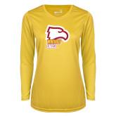 Ladies Syntrel Performance Gold Longsleeve Shirt-Winthrop Eagles w/ Eagle Head
