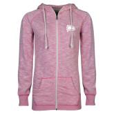 ENZA Ladies Hot Pink Marled Full Zip Hoodie-Eagle Head