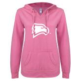 ENZA Ladies Hot Pink V Notch Raw Edge Fleece Hoodie-Eagle Head