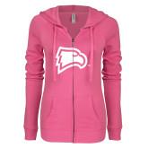 ENZA Ladies Hot Pink Light Weight Fleece Full Zip Hoodie-Eagle Head
