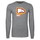 Grey Long Sleeve T Shirt-Winthrop Eagles w/ Eagle Head