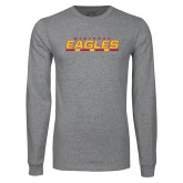 Grey Long Sleeve T Shirt-Winthrop Eagles Stacked w/ Bar