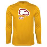 Performance Gold Longsleeve Shirt-Winthrop Eagles w/ Eagle Head