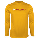 Performance Gold Longsleeve Shirt-Winthrop Athletics Flat