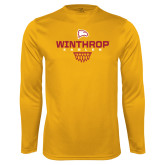 Performance Gold Longsleeve Shirt-Sharp Net Basketball