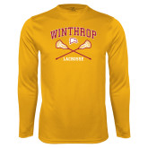 Performance Gold Longsleeve Shirt-Lacrosse Crossed Sticks