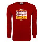 Cardinal Long Sleeve T Shirt-2017 Mens Basketball Champions Repeating