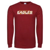 Cardinal Long Sleeve T Shirt-Winthrop Eagles Stacked w/ Bar