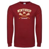 Cardinal Long Sleeve T Shirt-Lacrosse Crossed Sticks