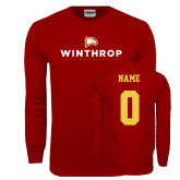 Cardinal Long Sleeve T Shirt-Primary Mark, Personalized Name and #