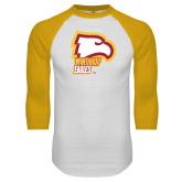 White/Gold Raglan Baseball T Shirt-Winthrop Eagles w/ Eagle Head