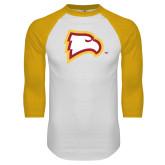 White/Gold Raglan Baseball T Shirt-Eagle Head