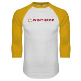 White/Gold Raglan Baseball T Shirt-Primary Mark Flat