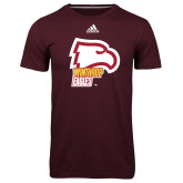 Adidas Climalite Maroon Ultimate Performance Tee-Winthrop Eagles w/ Eagle Head